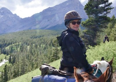 Trail riding in the mountains